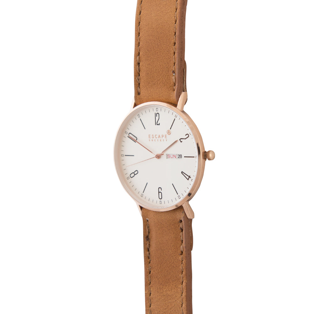 Gold 40mm Case With Tan Leather Strap