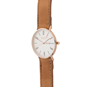 Gold 40mm Case With Tan Leather Strap - Escape Society