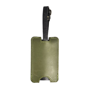 Olive Green Peep-Out Genuine Leather Luggage Tag - Escape Society