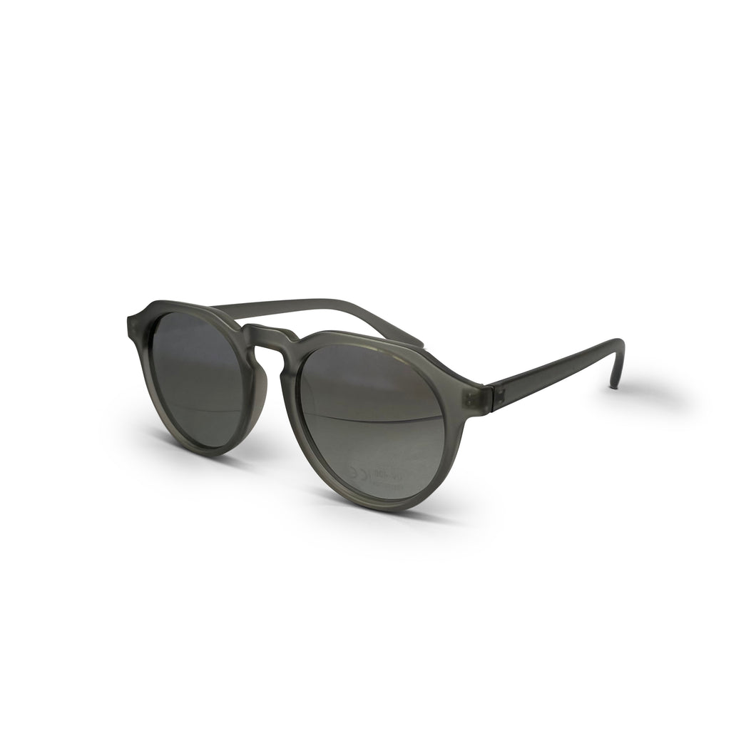 Grey Polarised Keyhole Round Lens