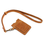 Tan Leather Lanyard Card Holder