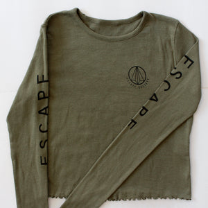 Khaki Green Long Sleeve Cropped Tee