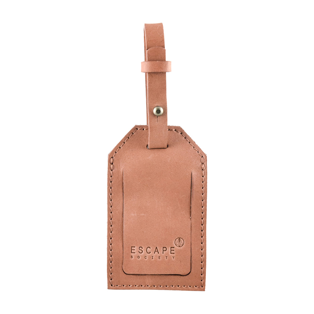 Dusty Pink Genuine Leather Luggage Tag - Escape Society