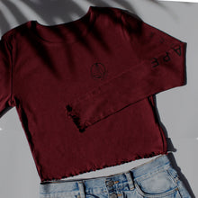 Load image into Gallery viewer, Burgandy Long Sleeve Cropped Tee