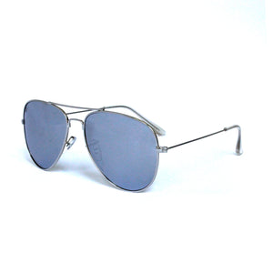 Silver Metal Aviator With Flash Mirror Lens
