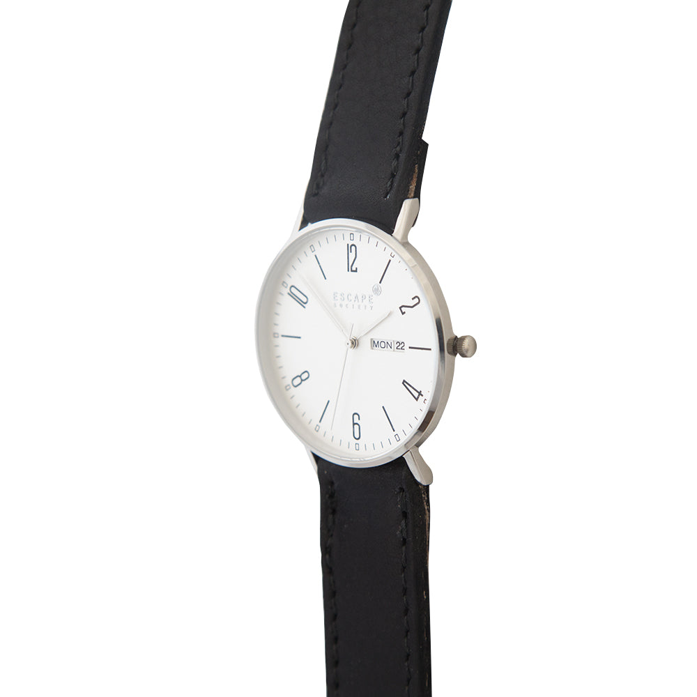 Silver 40mm Case With Black Leather Strap - Escape Society