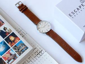 Silver 40mm Case With Brown Leather Strap