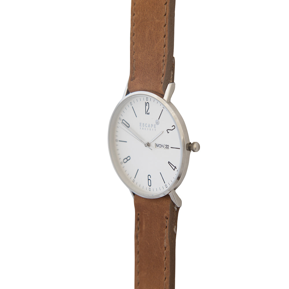 Silver 40mm Case With Brown Leather Strap - Escape Society