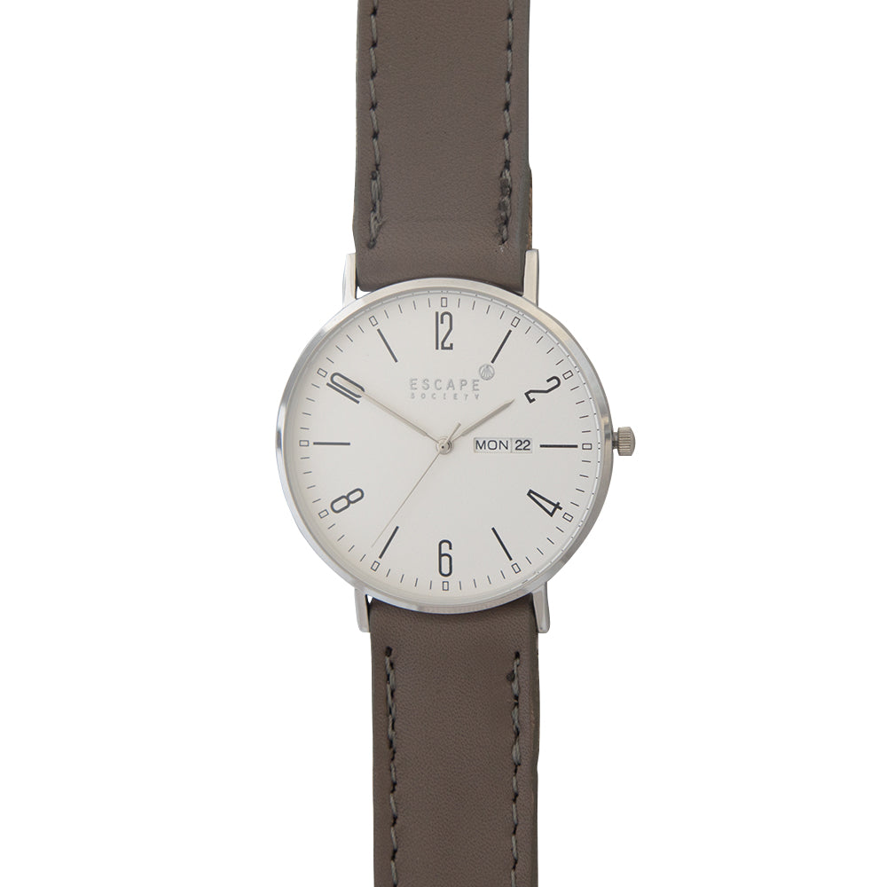 Silver 40mm Case With Mushroom Grey Leather Strap