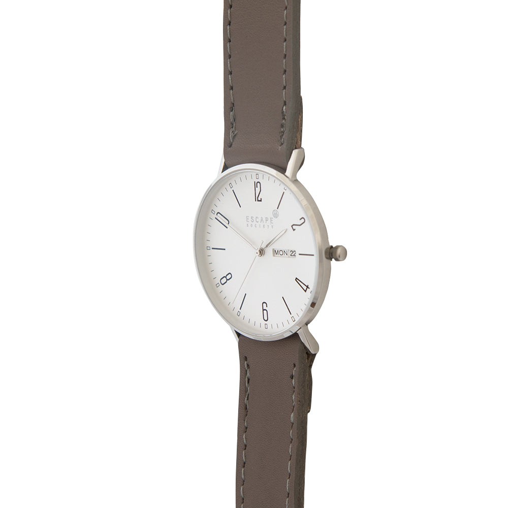 Silver 40mm Case With Mushroom Grey Leather Strap - Escape Society