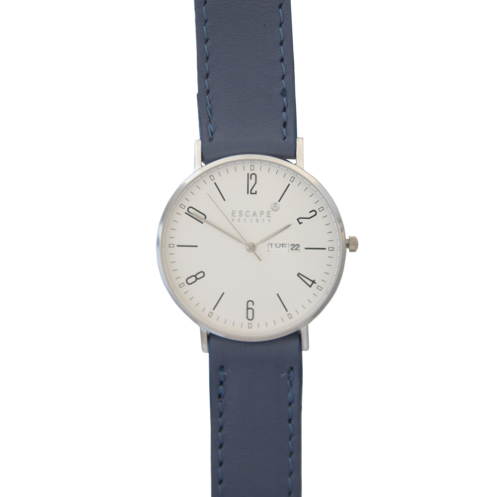 Silver 40mm Case With Muave Blue Leather Strap - Escape Society