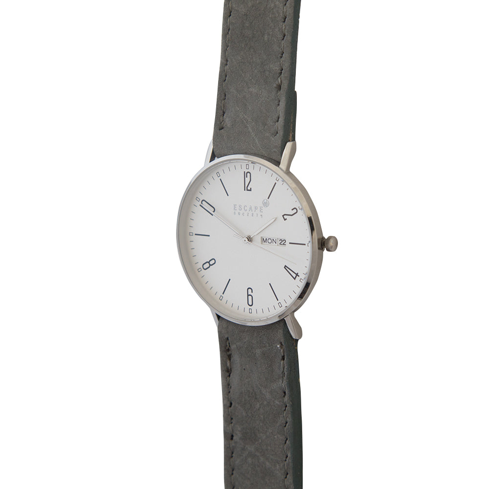 Silver 40mm Case With Grey Nubuck Leather Strap