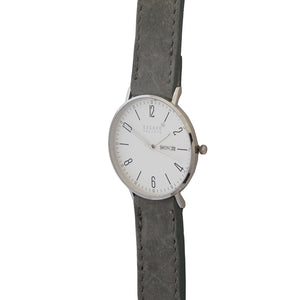Silver 40mm Case With Grey Nubuck Leather Strap - Escape Society