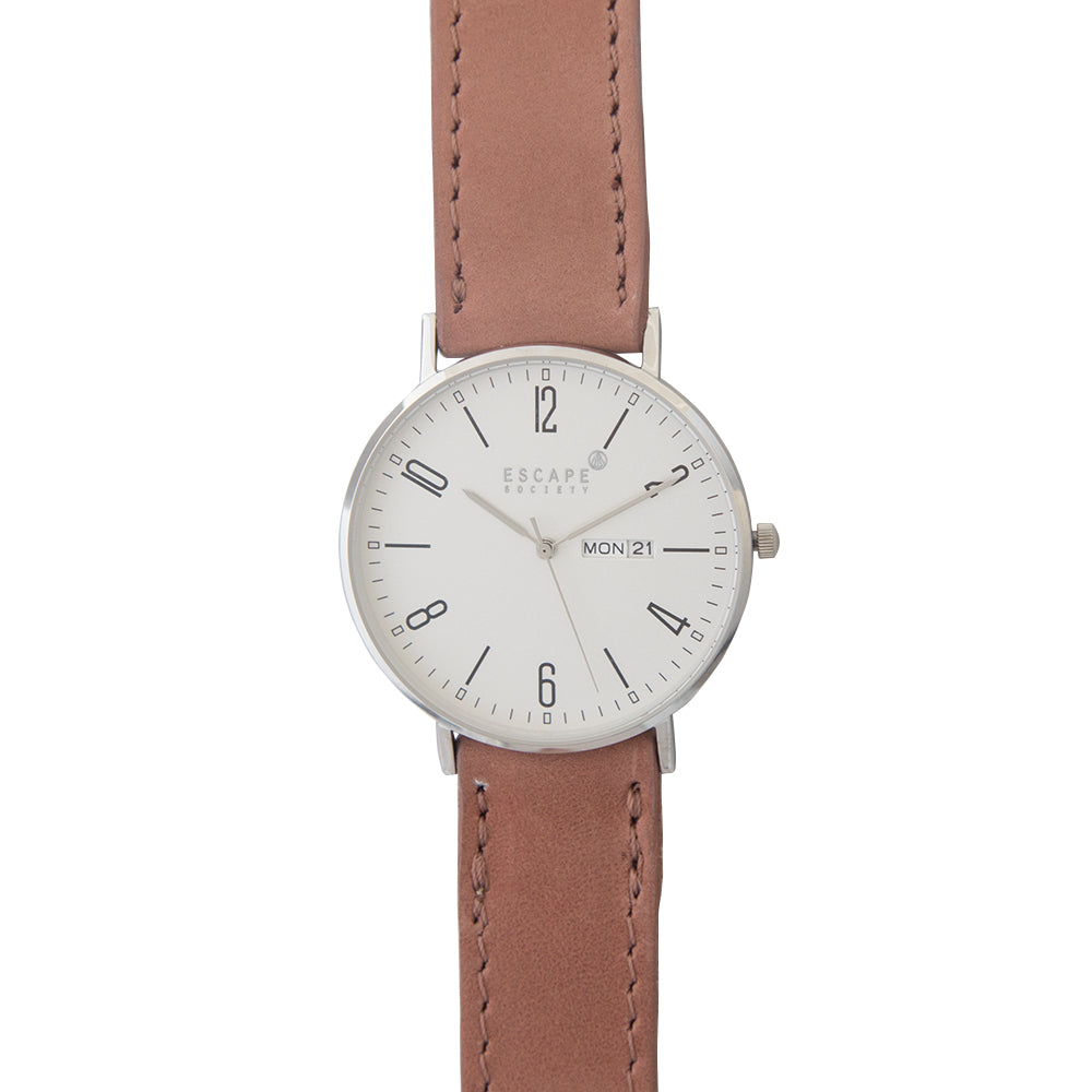 Silver 40mm Case With Dusty Pink Leather Strap - Escape Society