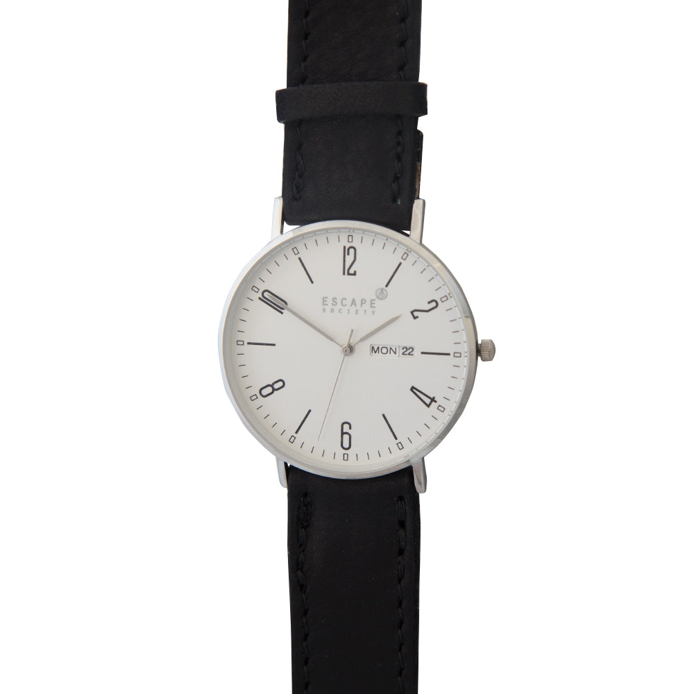 Silver 40mm Case With Black Leather Strap