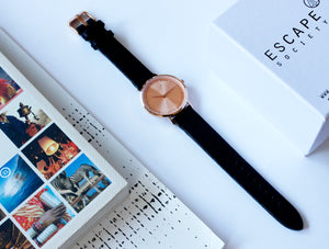 Rose Gold 36mm Case With Black Leather Strap
