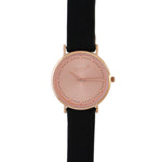 Black 36mm Leather Strap With Rose Gold Dial