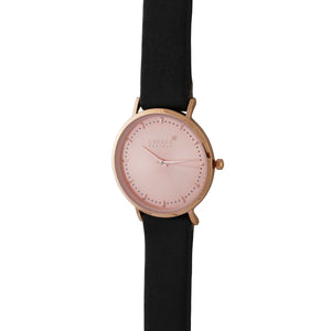 Black 36mm Leather Strap With Rose Gold Dial - Escape Society