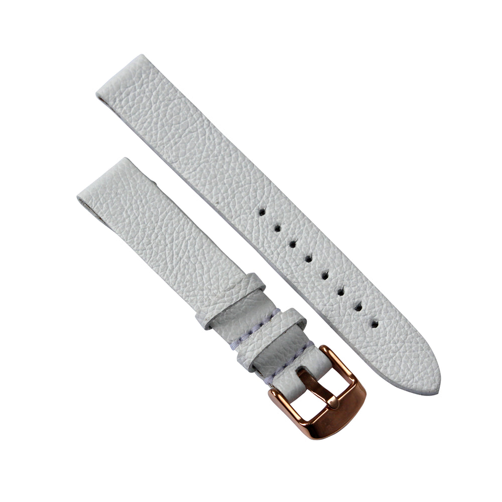 White Genuine Leather 36mm Watch Strap with Rose Gold Buckle - Escape Society