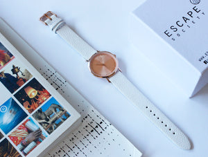 White 36mm Leather Strap With Rose Gold Dial - Escape Society