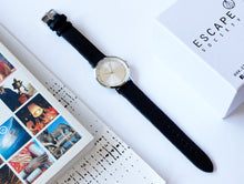 Load image into Gallery viewer, Black 36mm Leather Strap With Silver Dial - Escape Society
