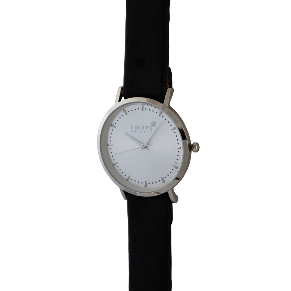 Black 36mm Leather Strap With Silver Dial - Escape Society