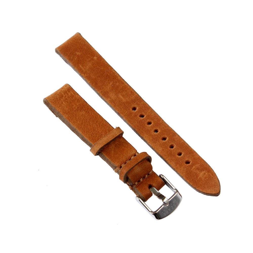 Silver 36mm Case With Brown Leather Strap