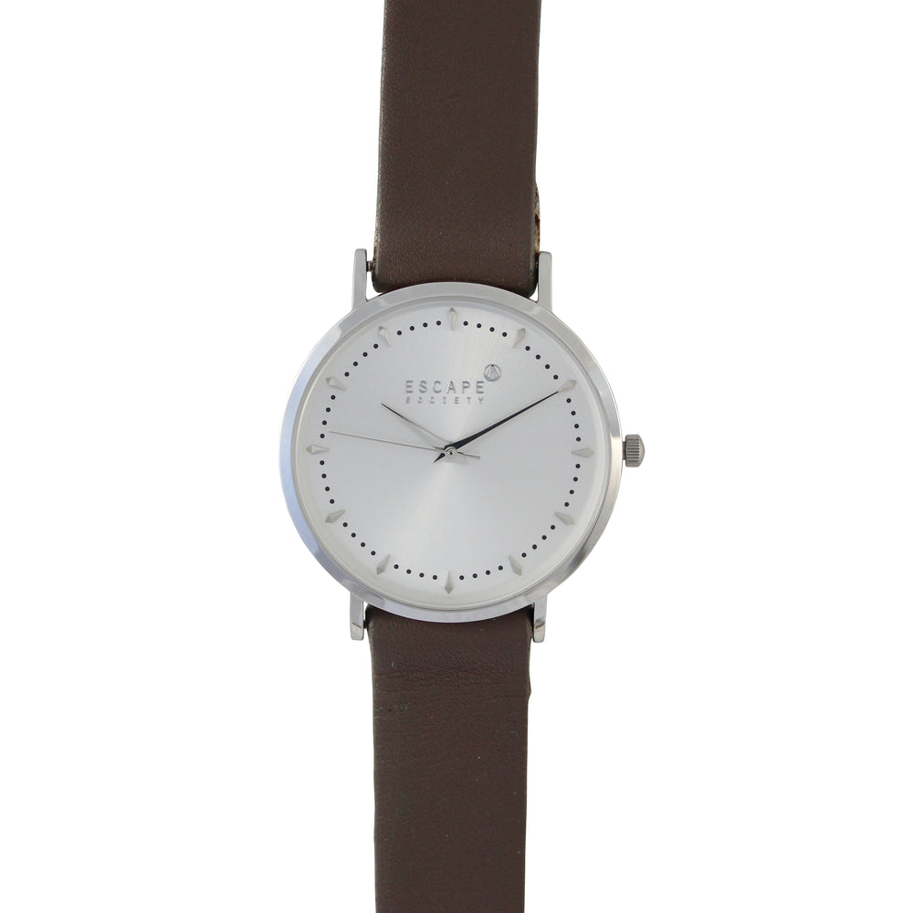 Silver 36mm Case With Mushroom Leather Strap