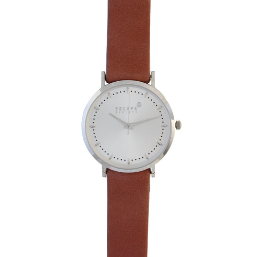 Rose Pink 36mm Leather Strap With Silver Dial - Escape Society