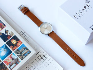 Silver 36mm Case With Tan Leather Strap