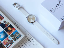 Load image into Gallery viewer, White 36mm Leather Strap With Silver Dial - Escape Society