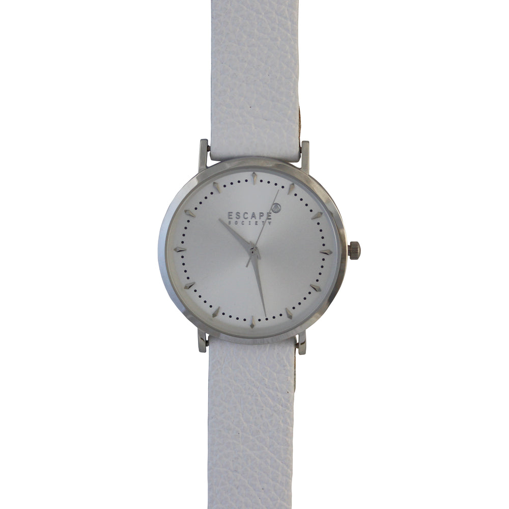 Silver 36mm Case With White Leather Strap