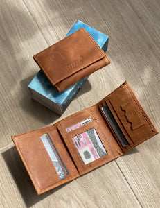 Tan Sonder Tri-fold Leather Wallet