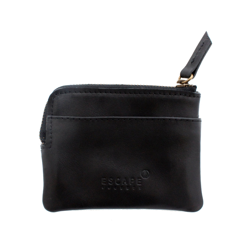Black Leather Coin And Card Pouch