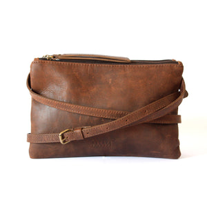 Dark Brown Leather Double Pouch Cross Body Bag