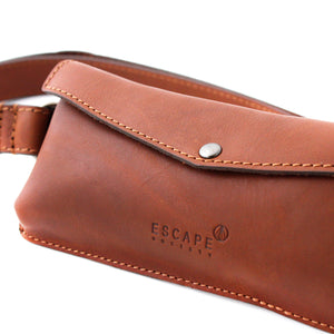 Tan Leather Travel Belt Bag - Escape Society