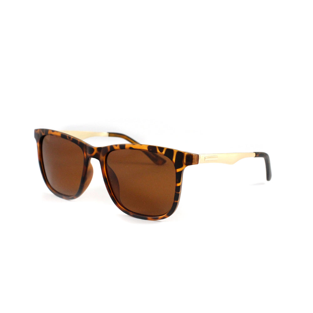 Tortoise Shell  Squared Off Retro With Gold Temple