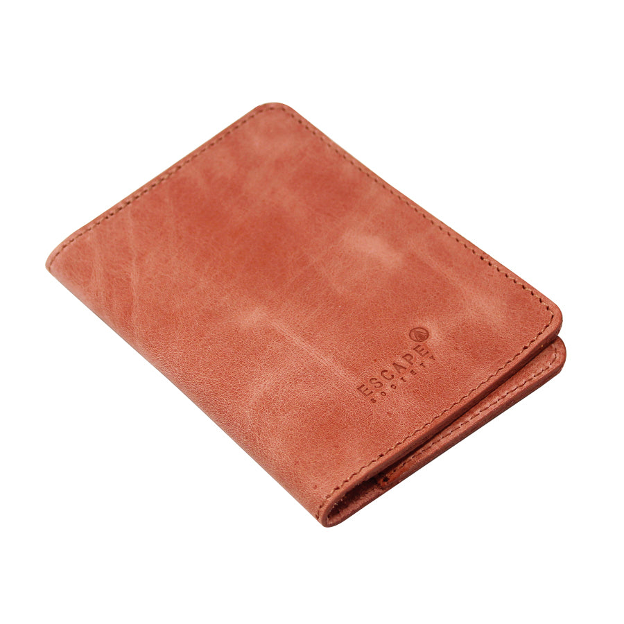 Dusty Pink Genuine Leather Passport Holder - Escape Society