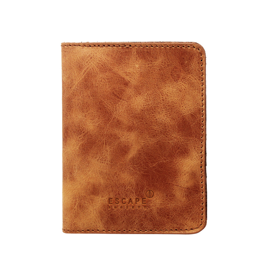 Tan Genuine Leather Passport Holder - Escape Society