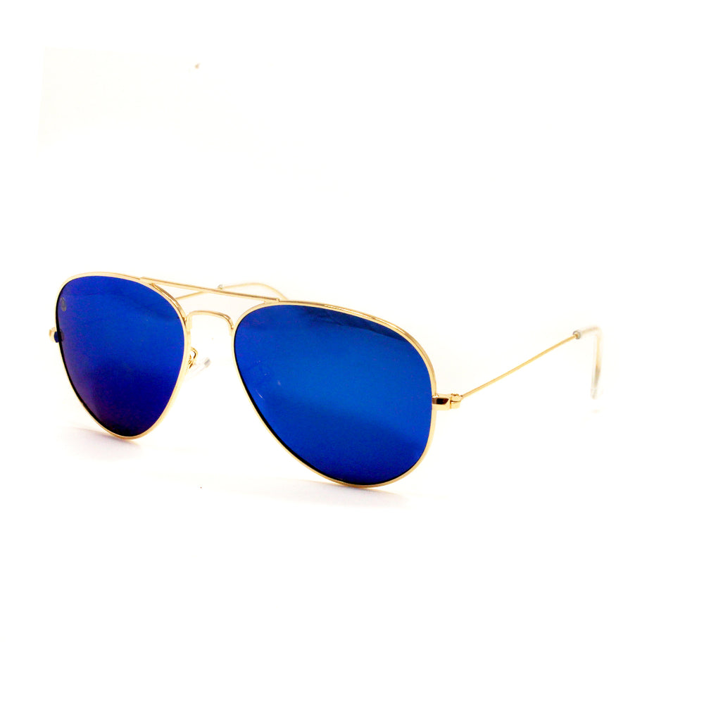 Gold Metal Aviator With Ocean Blue Lens - Escape Society