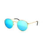Gold Vintage Round Lens With Ocean Blue Lens Metal Frame