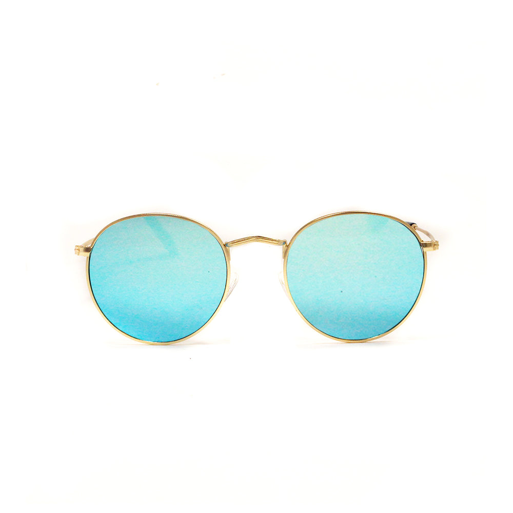 Gold Vintage Round Lens With Ocean Blue Lens Metal Frame - Escape Society