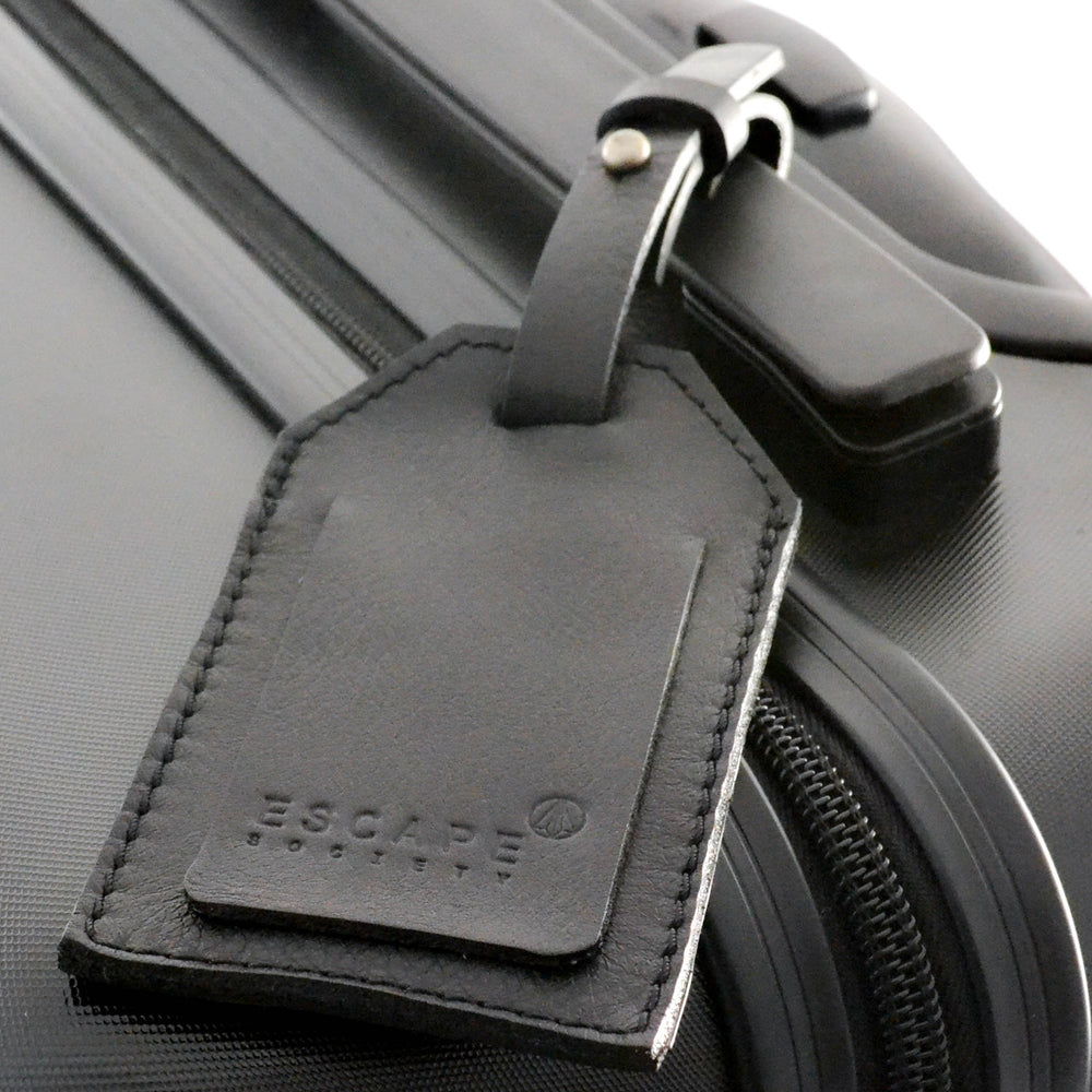 Black Genuine Leather Luggage Tag - Escape Society