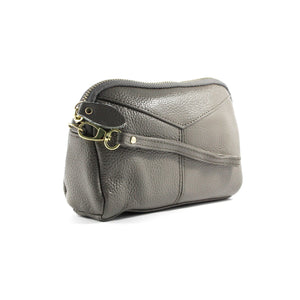Grey Soft Pebble Grain Wrist Clutch - Escape Society