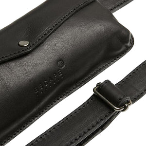 Black Leather Travel Belt Bag - Escape Society