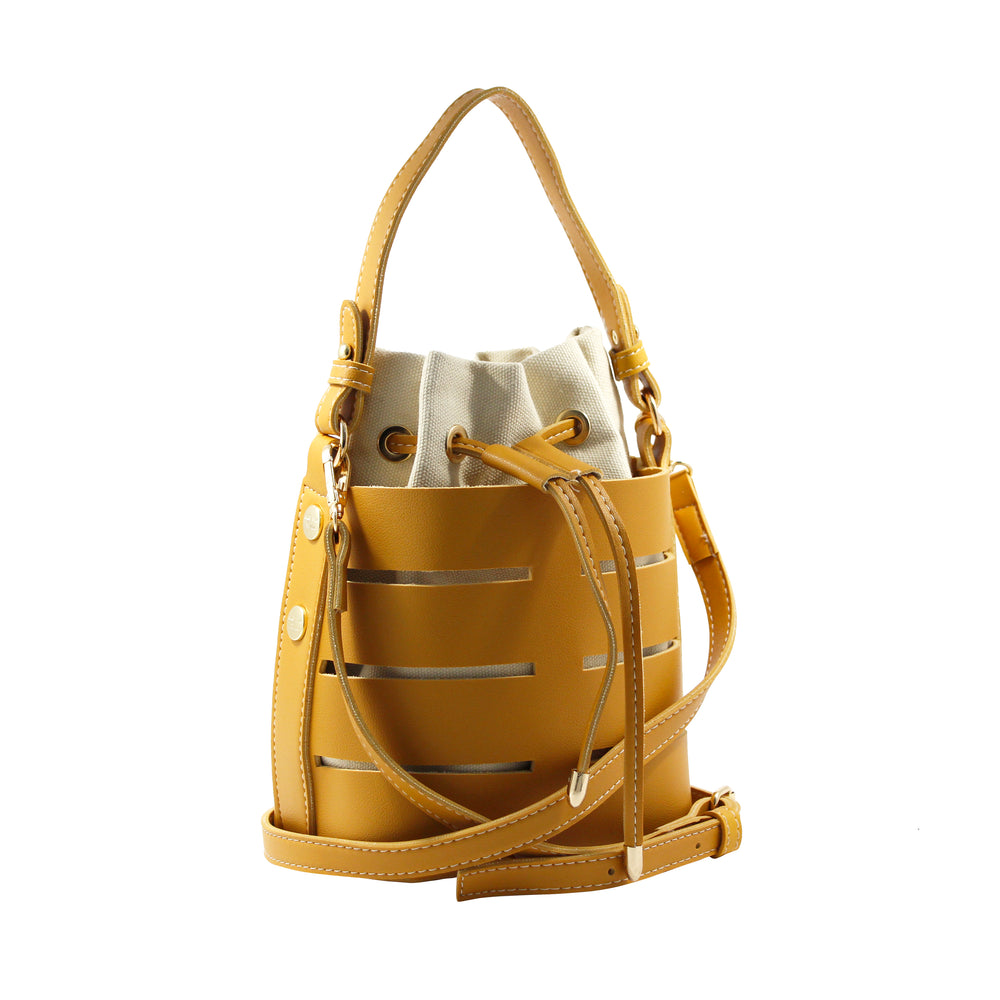 Mustard Yellow Peek-A-Boo Bucket Bag