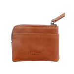 Tan Leather Coin And Card Pouch