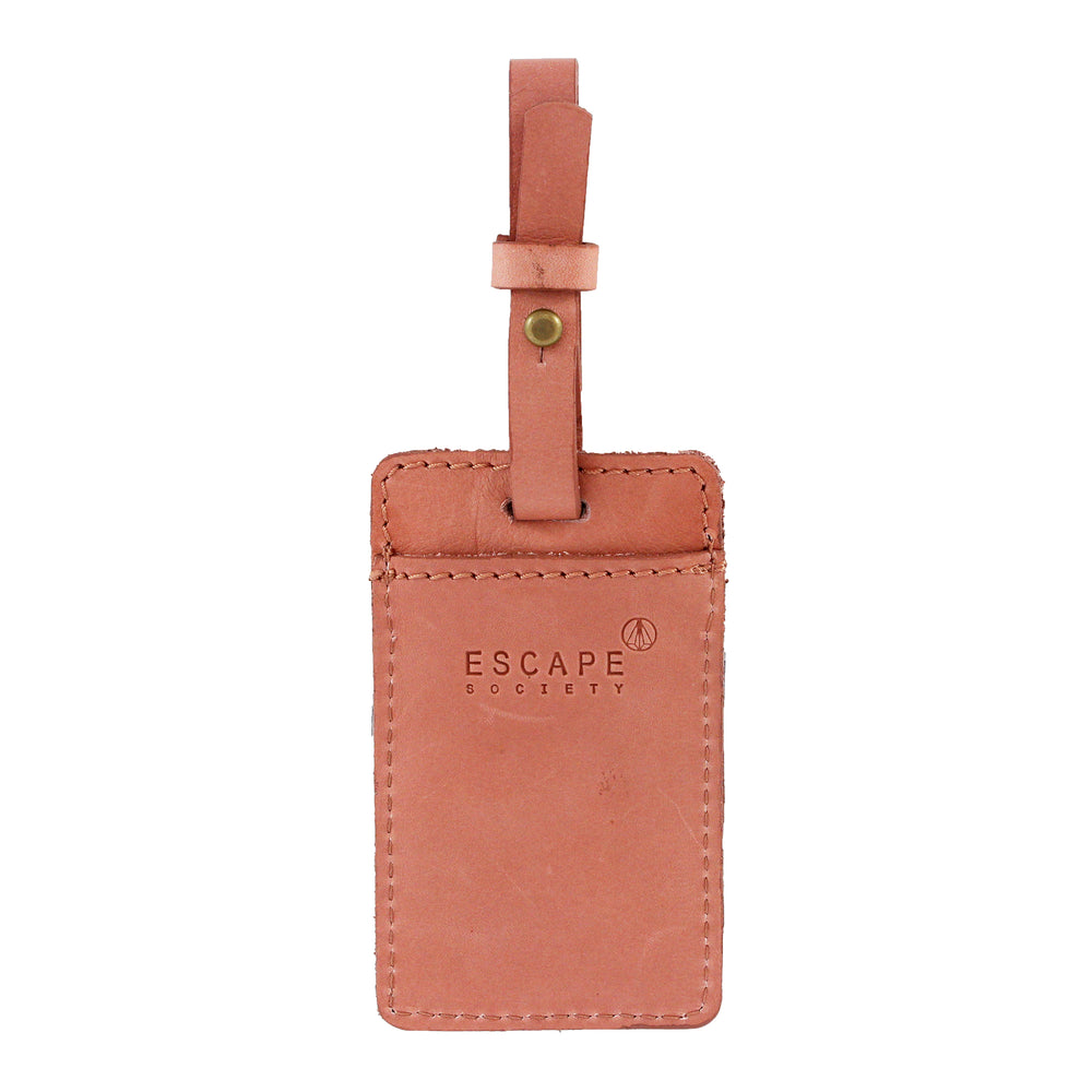 Dusty Pink Utility Leather Luggage Tag