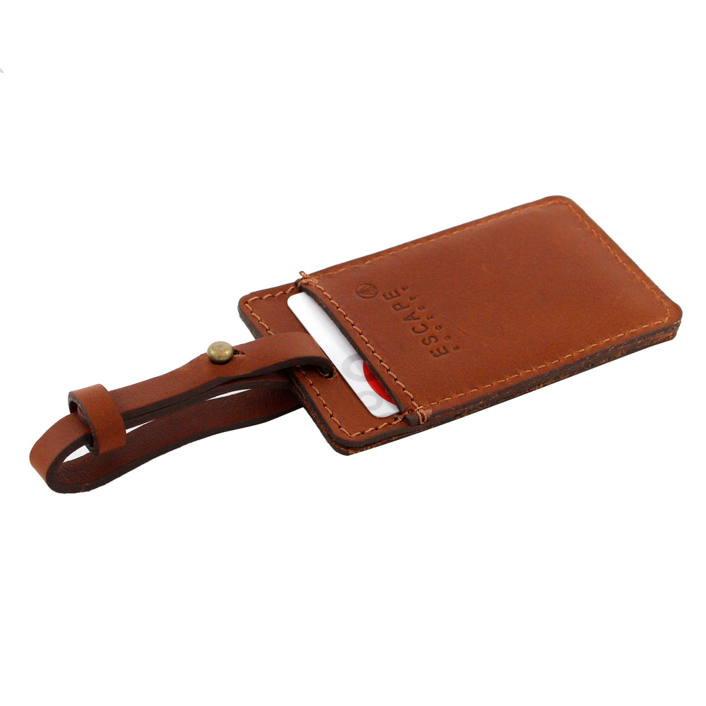 Tan Utility Leather Luggage Tag - Escape Society