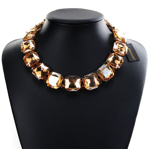 Square Crystal Chunky Choker Statement Bib Necklace